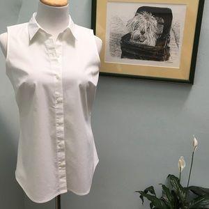 Apt. 9 White Sleeveless Button Up Blouse